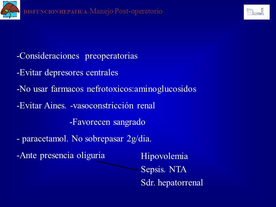 DISFUNCION HEPATICA : Manejo Post-operatorio -Consideraciones preoperatorias -Evitar depresores centrales -No usar farmacos nefrotoxicos:aminoglucosid