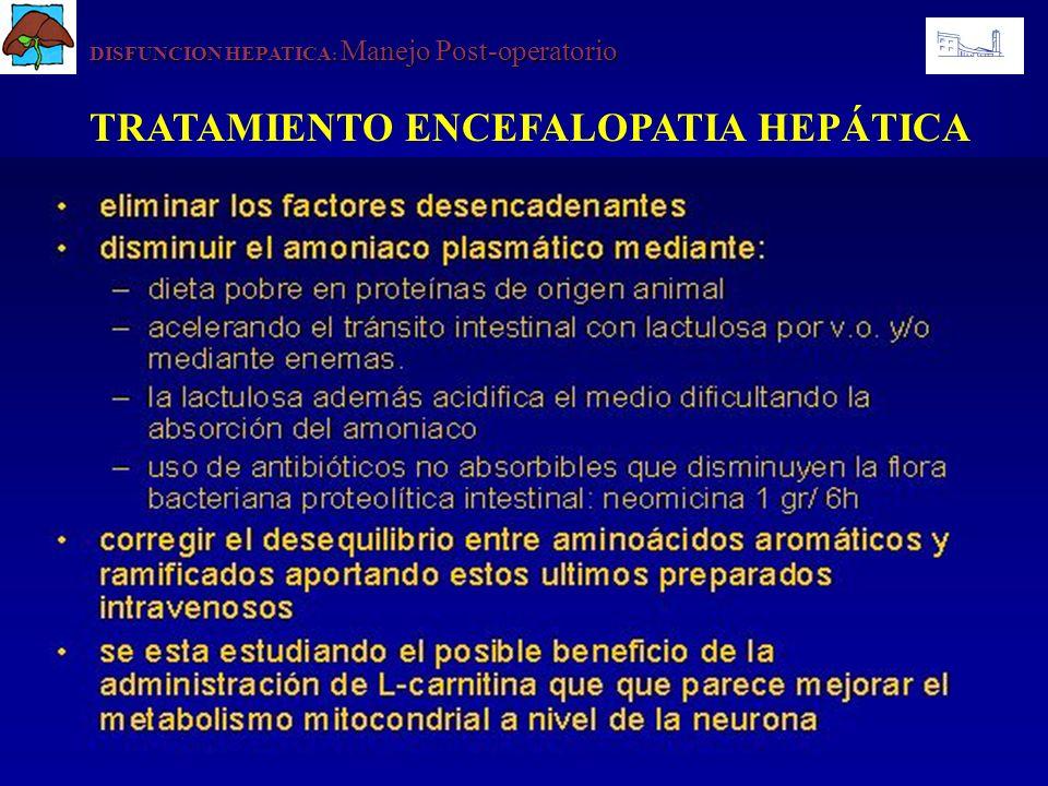 DISFUNCION HEPATICA : Manejo Post-operatorio TRATAMIENTO ENCEFALOPATIA HEPÁTICA