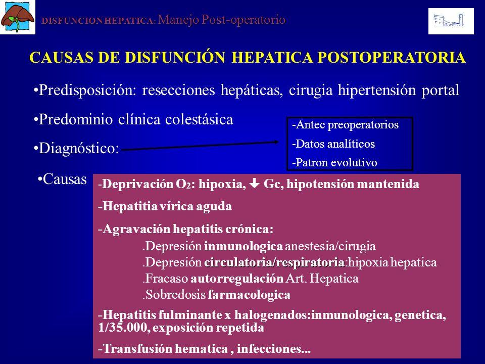 DISFUNCION HEPATICA : Manejo Post-operatorio CAUSAS DE DISFUNCIÓN HEPATICA POSTOPERATORIA Predisposición: resecciones hepáticas, cirugia hipertensión
