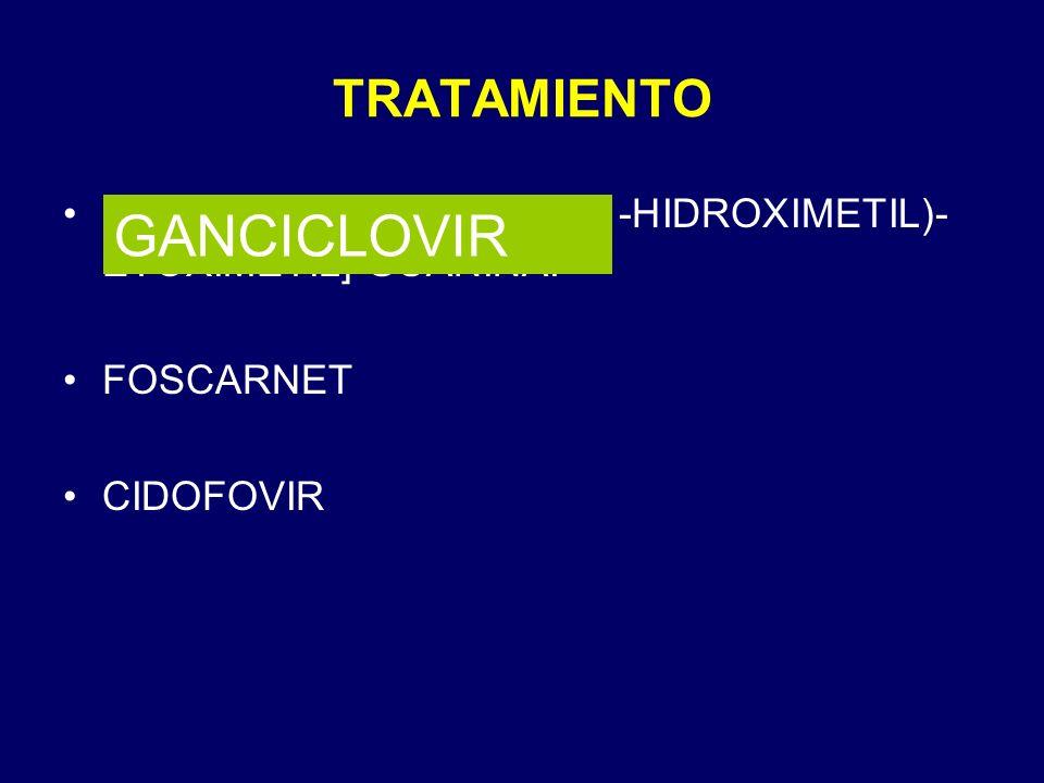 TRATAMIENTO 9-[2-HIDROXI-L-(HIDROXI-1-HIDROXIMETIL)- ETOXIMETIL] GUANINA. FOSCARNET CIDOFOVIR GANCICLOVIR