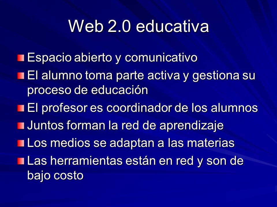 Web 2.0 educativa Espacio abierto y comunicativo El alumno toma parte activa y gestiona su proceso de educación El profesor es coordinador de los alum