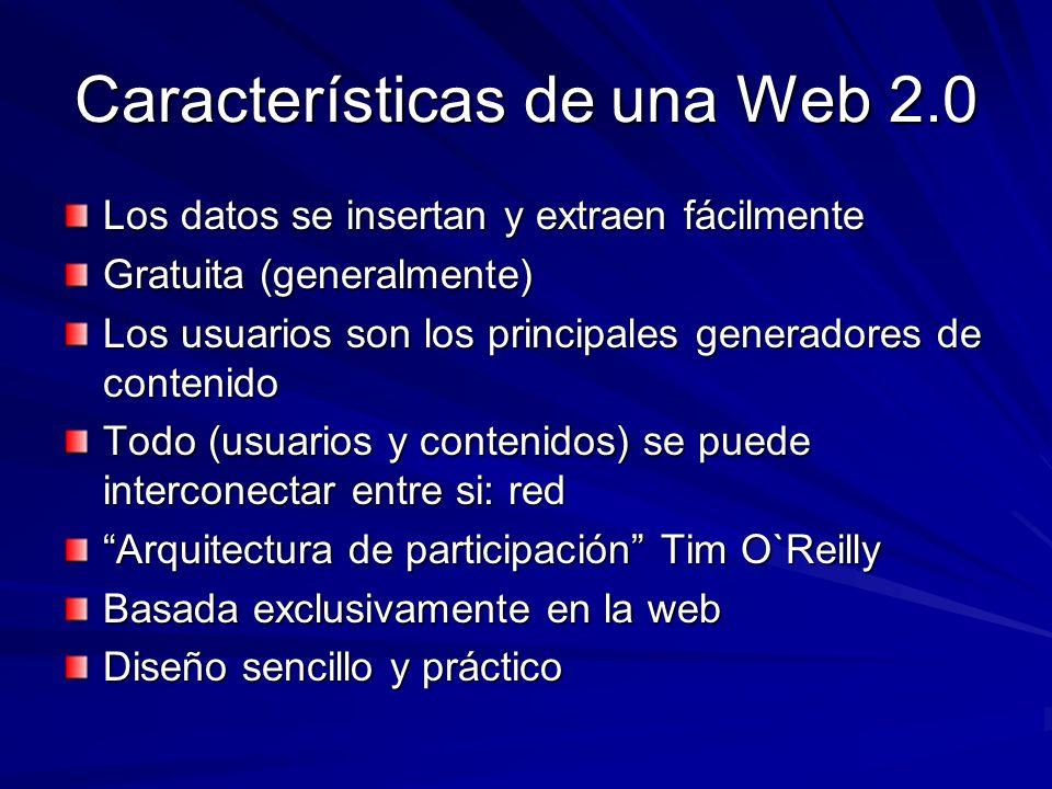 Características de una Web 2.0 Los datos se insertan y extraen fácilmente Gratuita (generalmente) Los usuarios son los principales generadores de cont