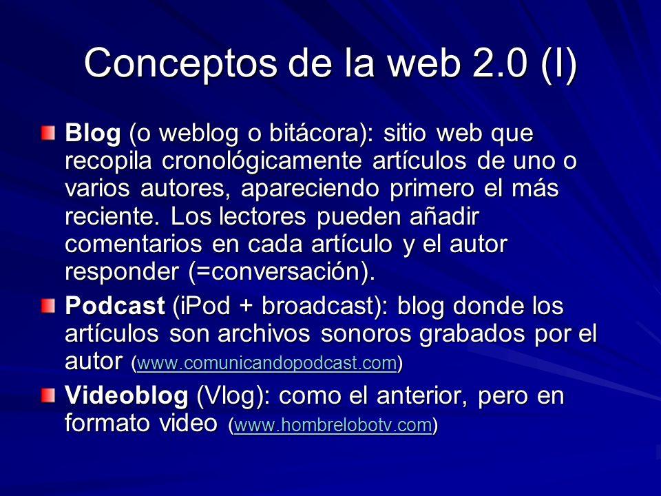 Conceptos de la web 2.0 (II) Blogosfera (blogocosa, blogsphere): engloba todo lo relacionado con los blogs (webs, autores, sentimiento social…) Blogfesor: Blog realizado por un profesor (www.boulesis.com/boule) www.boulesis.com/boule Edublog: Blog dedicado al mundo de la educación (www.aula21.net/aulablog21) www.aula21.net/aulablog21 Fotoblog (photoblog): blog con fotografías publicadas periódicamente (www.cazurro.com) www.cazurro.com