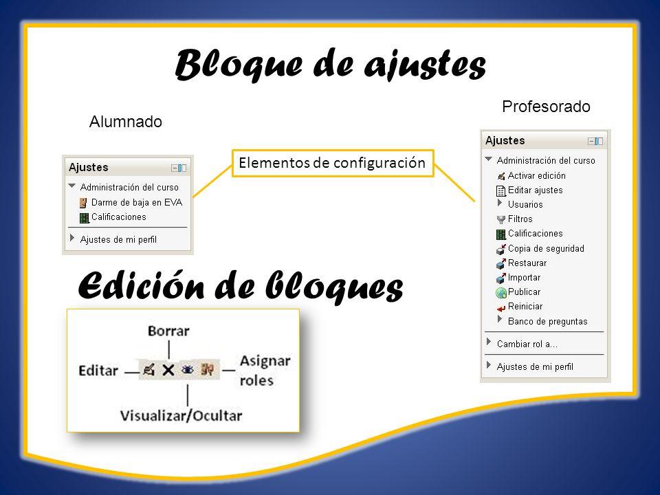 Bloque de ajustes Alumnado Profesorado Elementos de configuración Edición de bloques