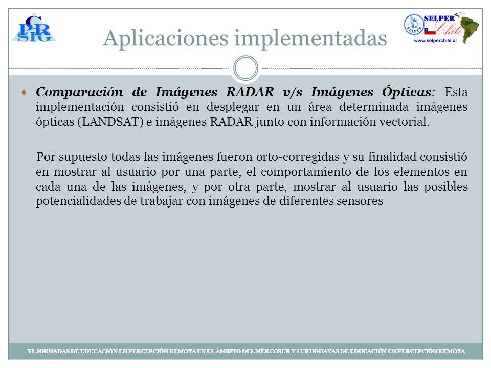 Aplicaciones implementadas Comparación de Imágenes RADAR v/s Imágenes Ópticas: Esta implementación consistió en desplegar en un área determinada imágenes ópticas (LANDSAT) e imágenes RADAR junto con información vectorial.