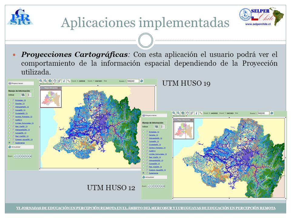 Aplicaciones implementadas Proyecciones Cartográficas: Con esta aplicación el usuario podrá ver el comportamiento de la información espacial dependiendo de la Proyección utilizada.