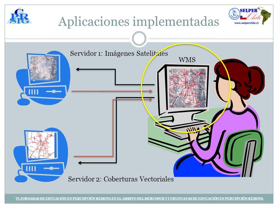 Aplicaciones implementadas VI JORNADAS DE EDUCACIÓN EN PERCEPCIÓN REMOTA EN EL ÁMBITO DEL MERCOSUR Y I URUGUAYAS DE EDUCACIÓN EN PERCEPCIÓN REMOTA Servidor 1: Imágenes Satelitales Servidor 2: Coberturas Vectoriales WMS