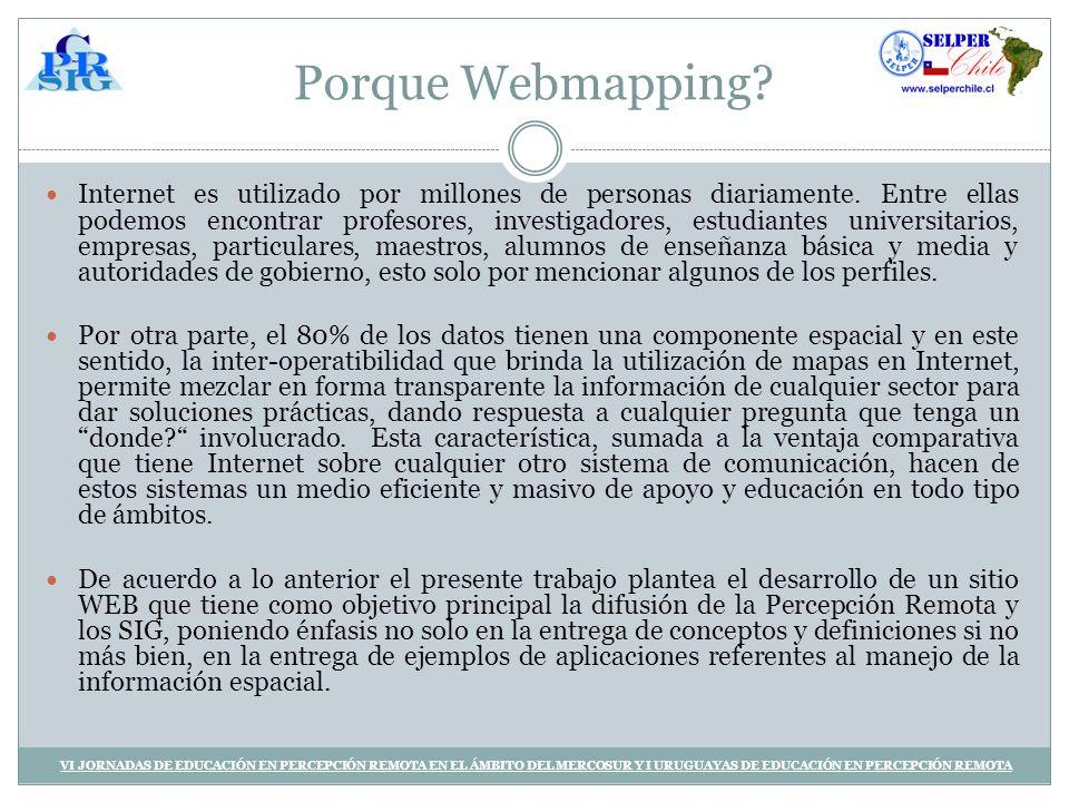 Aplicaciones implementadas VI JORNADAS DE EDUCACIÓN EN PERCEPCIÓN REMOTA EN EL ÁMBITO DEL MERCOSUR Y I URUGUAYAS DE EDUCACIÓN EN PERCEPCIÓN REMOTA