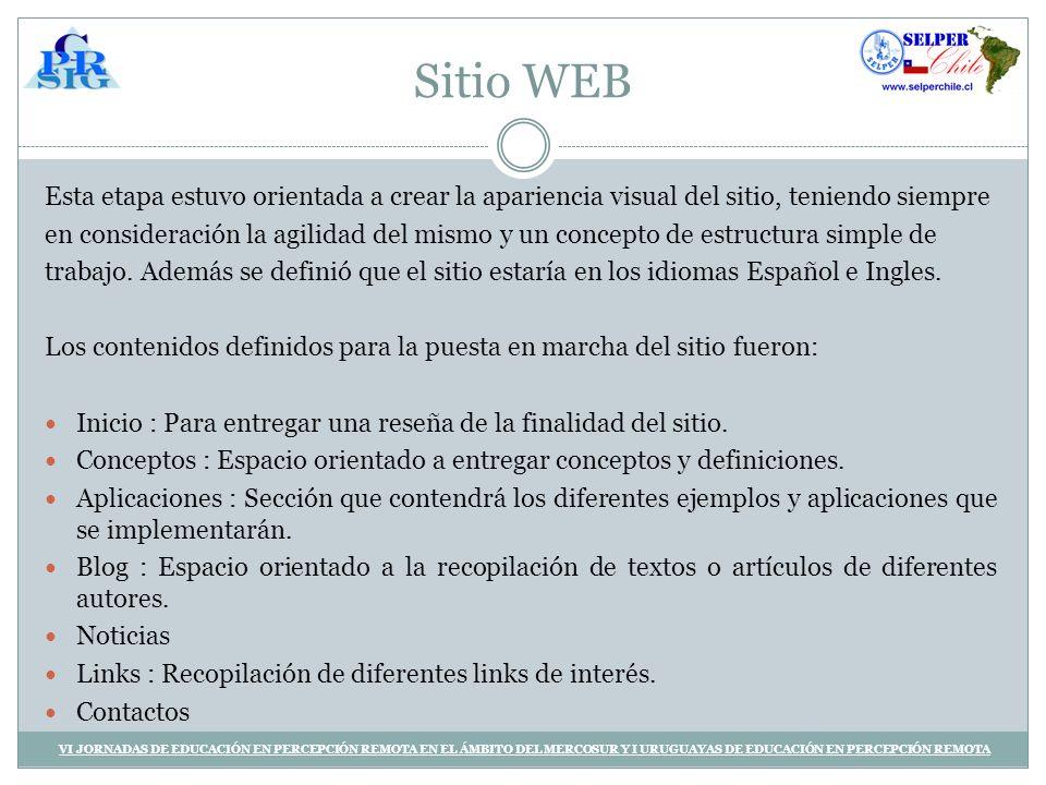 Sitio WEB Esta etapa estuvo orientada a crear la apariencia visual del sitio, teniendo siempre en consideración la agilidad del mismo y un concepto de estructura simple de trabajo.