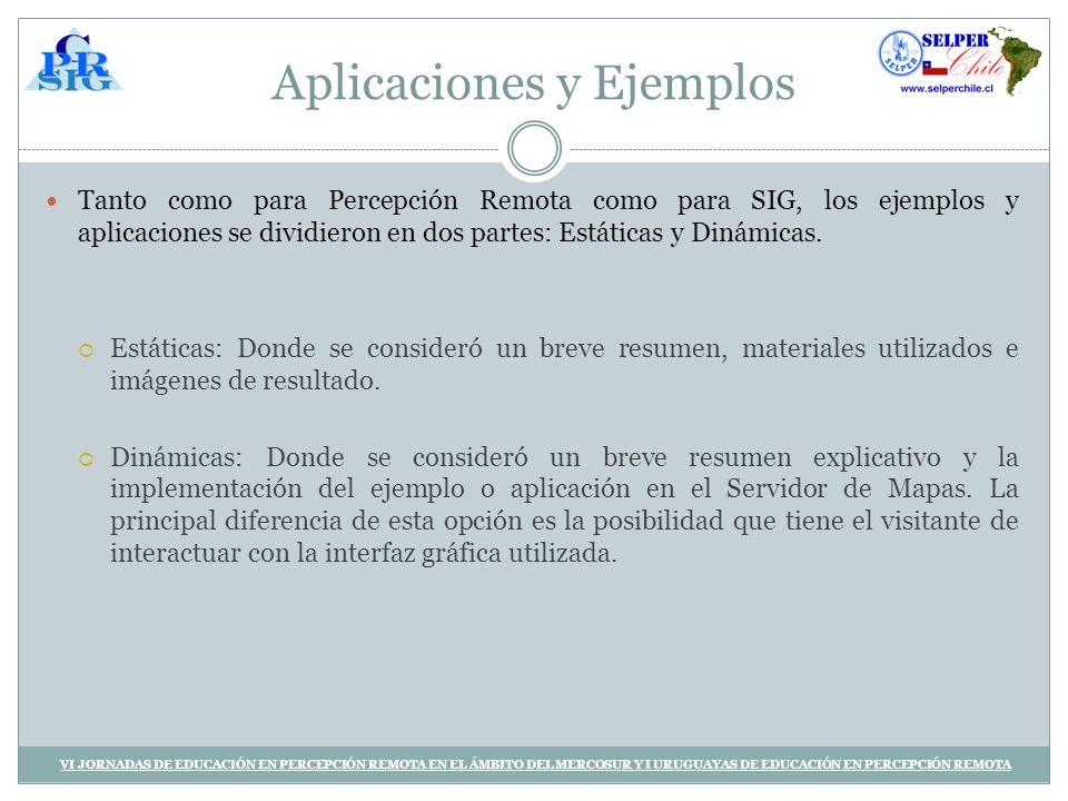 Aplicaciones y Ejemplos Tanto como para Percepción Remota como para SIG, los ejemplos y aplicaciones se dividieron en dos partes: Estáticas y Dinámicas.