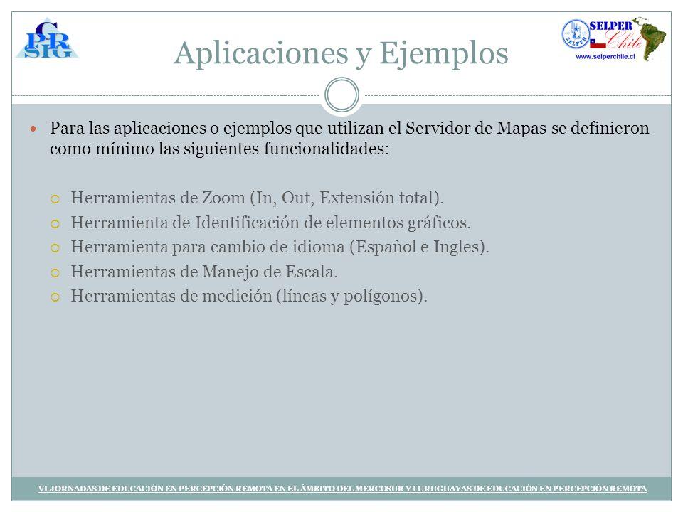 Aplicaciones y Ejemplos Para las aplicaciones o ejemplos que utilizan el Servidor de Mapas se definieron como mínimo las siguientes funcionalidades: Herramientas de Zoom (In, Out, Extensión total).