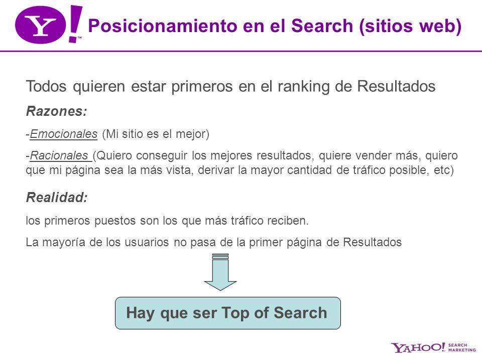 Posicionamiento en el Search (sitios web) Todos quieren estar primeros en el ranking de Resultados Razones: -Emocionales (Mi sitio es el mejor) -Racionales (Quiero conseguir los mejores resultados, quiere vender más, quiero que mi página sea la más vista, derivar la mayor cantidad de tráfico posible, etc) Realidad: los primeros puestos son los que más tráfico reciben.