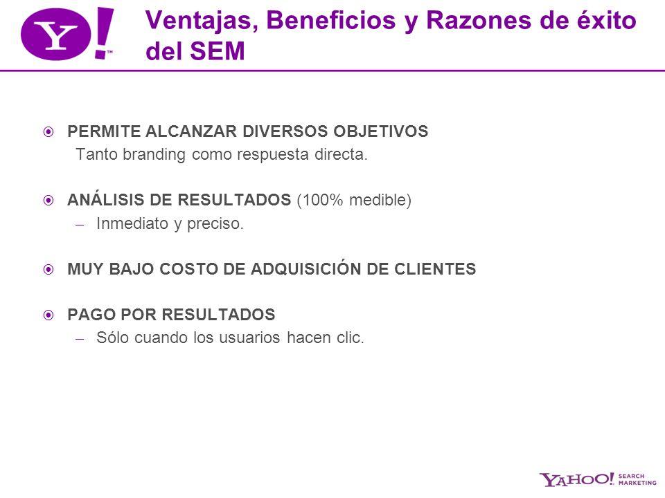 Ventajas, Beneficios y Razones de éxito del SEM PERMITE ALCANZAR DIVERSOS OBJETIVOS Tanto branding como respuesta directa.