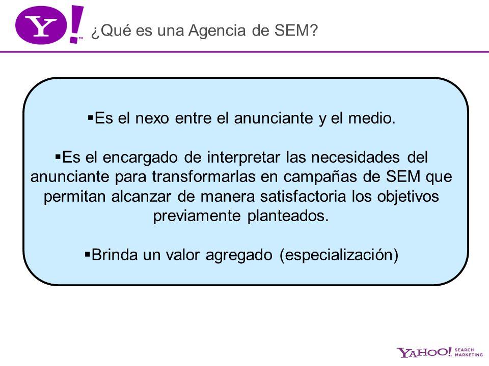 ¿Qué es una Agencia de SEM. Es el nexo entre el anunciante y el medio.
