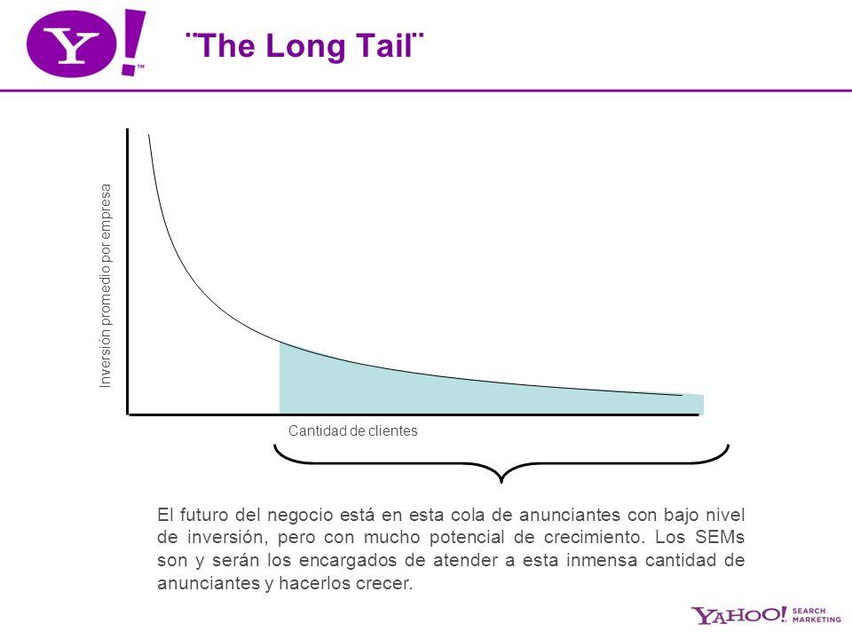 ¨The Long Tail¨ Inversión promedio por empresa Cantidad de clientes El futuro del negocio está en esta cola de anunciantes con bajo nivel de inversión, pero con mucho potencial de crecimiento.