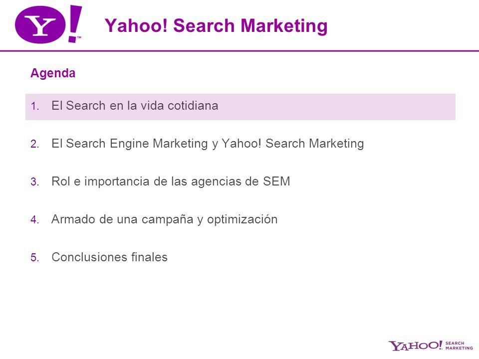 SEM y Yahoo.Search Marketing Agenda 1. El Search en la vida cotidiana 2.