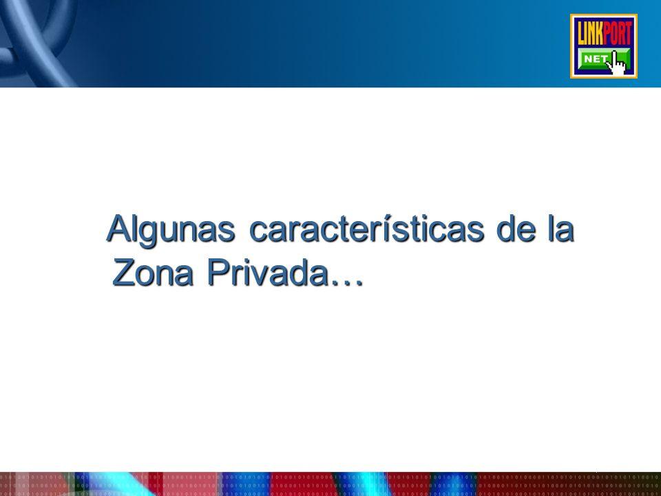 Algunas características de la Zona Privada… Algunas características de la Zona Privada…