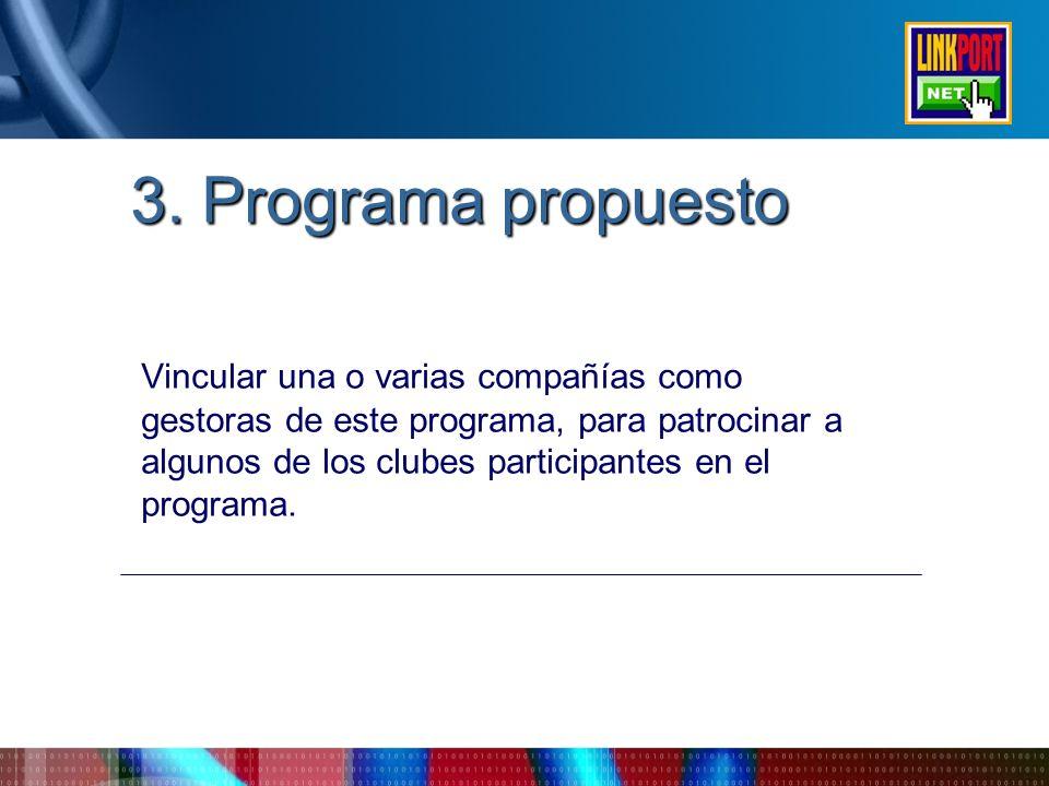 3. Programa propuesto Vincular una o varias compañías como gestoras de este programa, para patrocinar a algunos de los clubes participantes en el prog