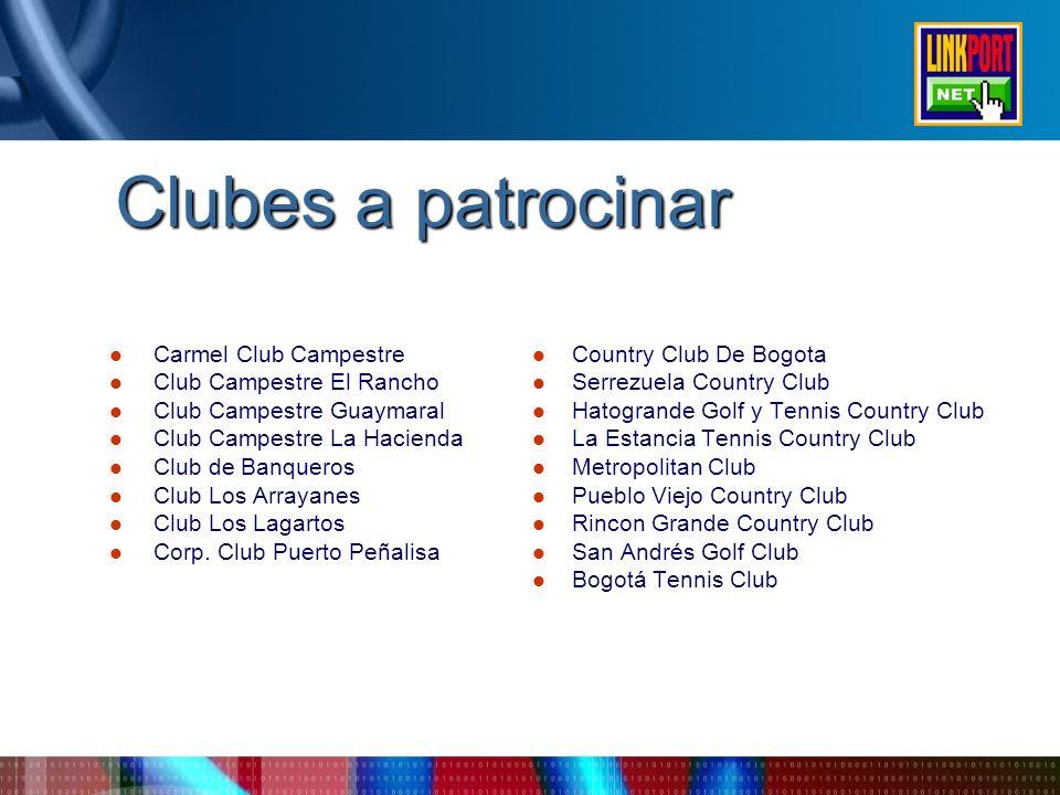 Clubes a patrocinar Carmel Club Campestre Club Campestre El Rancho Club Campestre Guaymaral Club Campestre La Hacienda Club de Banqueros Club Los Arra