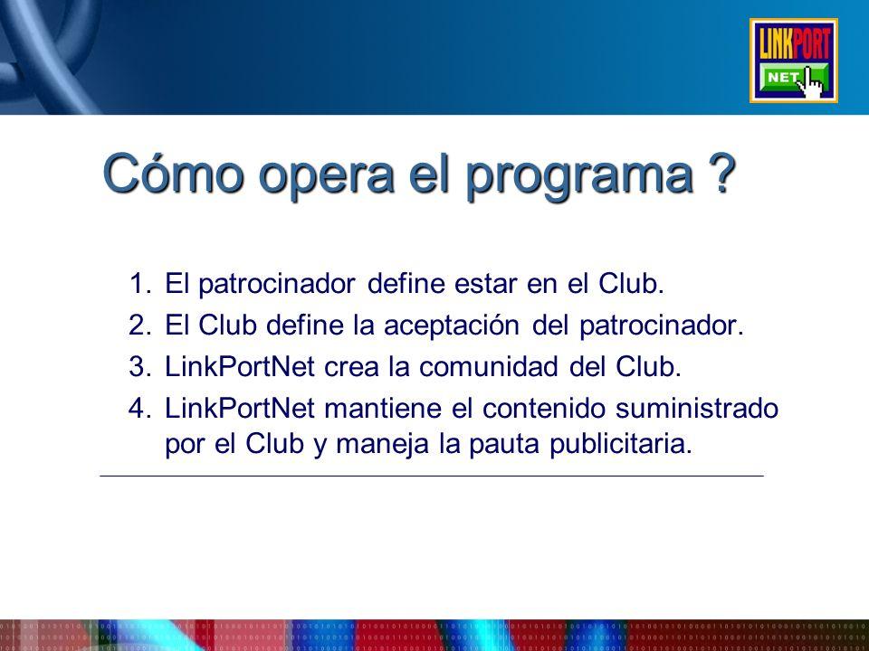 Cómo opera el programa ? 1.El patrocinador define estar en el Club. 2.El Club define la aceptación del patrocinador. 3.LinkPortNet crea la comunidad d