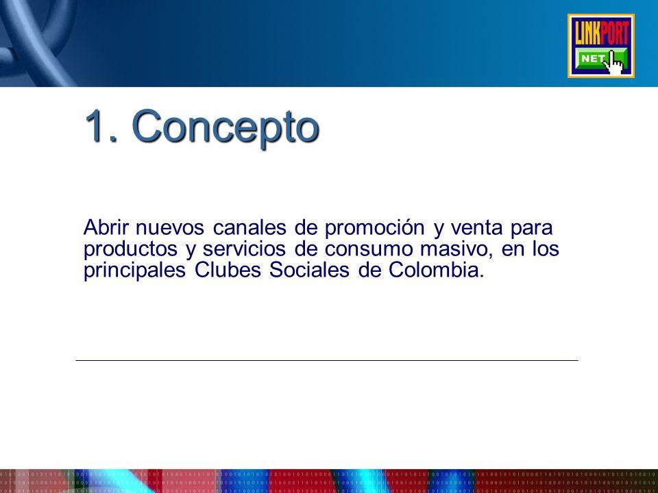 1. Concepto Abrir nuevos canales de promoción y venta para productos y servicios de consumo masivo, en los principales Clubes Sociales de Colombia.