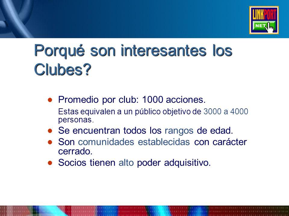 Porqué son interesantes los Clubes? Promedio por club: 1000 acciones. Estas equivalen a un público objetivo de 3000 a 4000 personas. Se encuentran tod