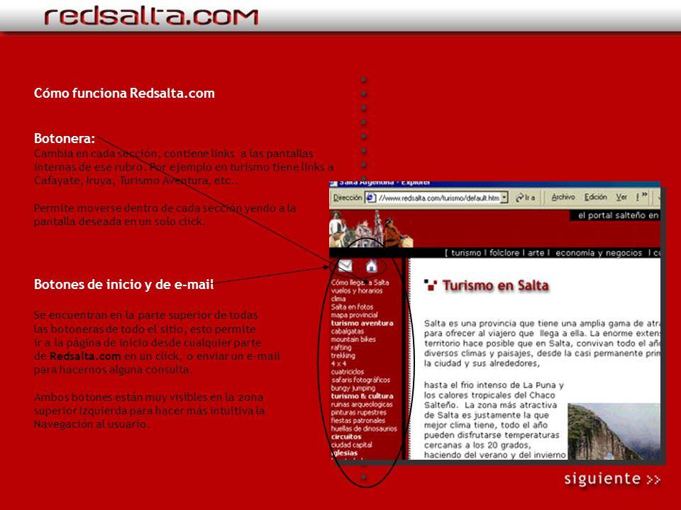 Cómo funciona Redsalta.com: Nuestro sitio tiene una estructura pensada para que las páginas carguen rápido y sea sumamente fácil para el usuario encon