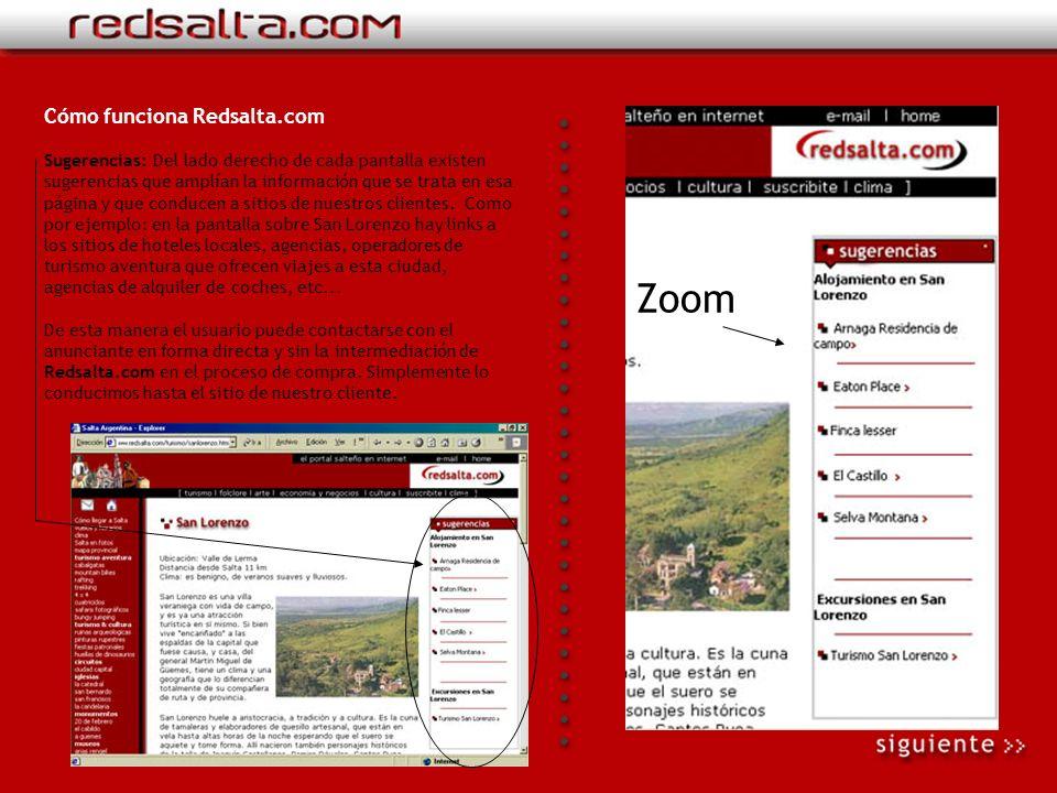 Cómo funciona Redsalta.com Botonera: Cambia en cada sección, contiene links a las pantallas internas de ese rubro.