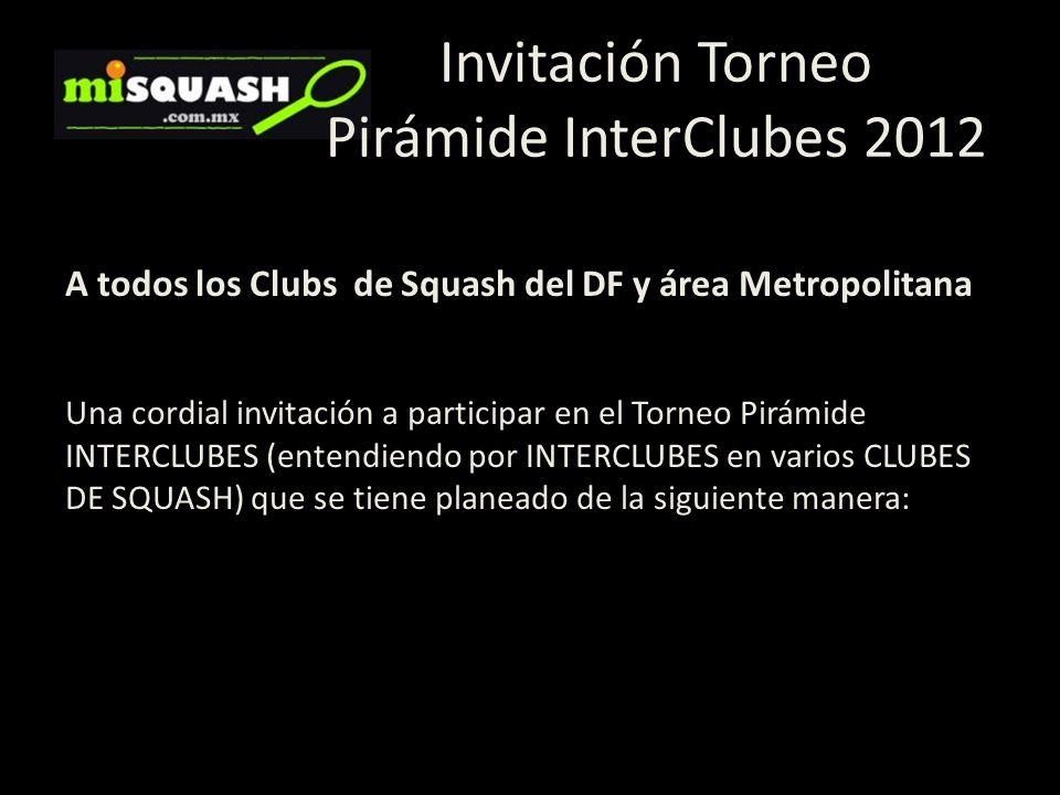 A todos los Clubs de Squash del DF y área Metropolitana Una cordial invitación a participar en el Torneo Pirámide INTERCLUBES (entendiendo por INTERCL