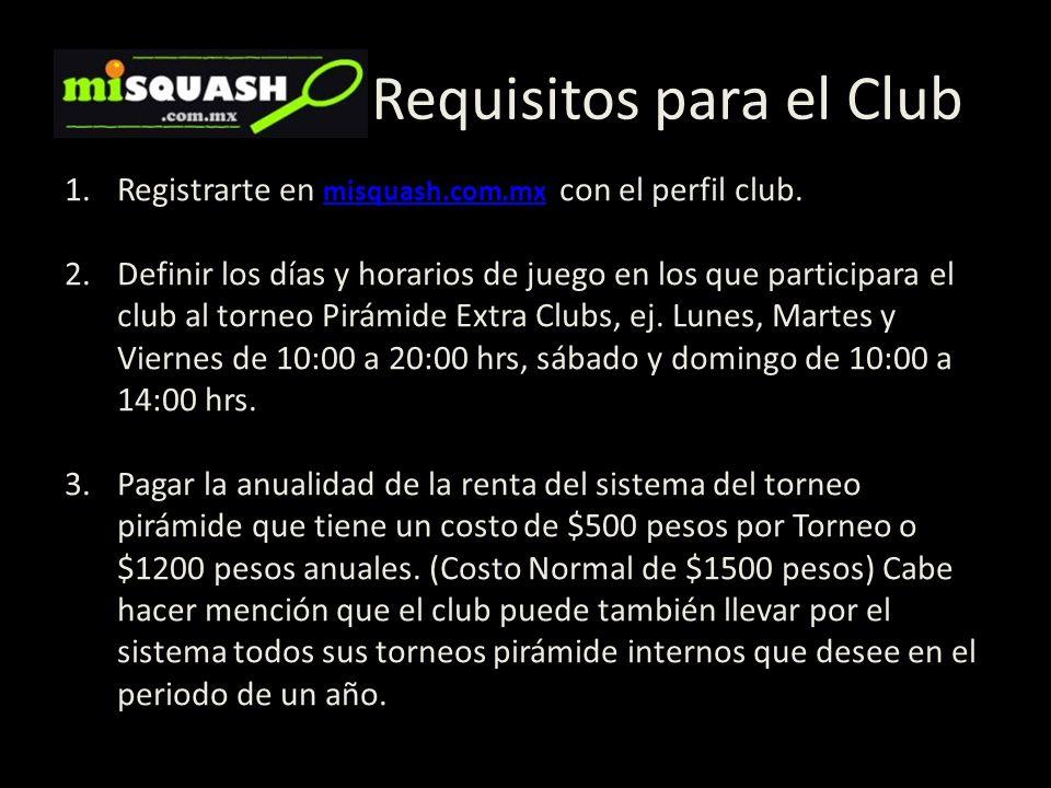 Requisitos para el Club 1.Registrarte en misquash.com.mx con el perfil club. misquash.com.mx 2.Definir los días y horarios de juego en los que partici