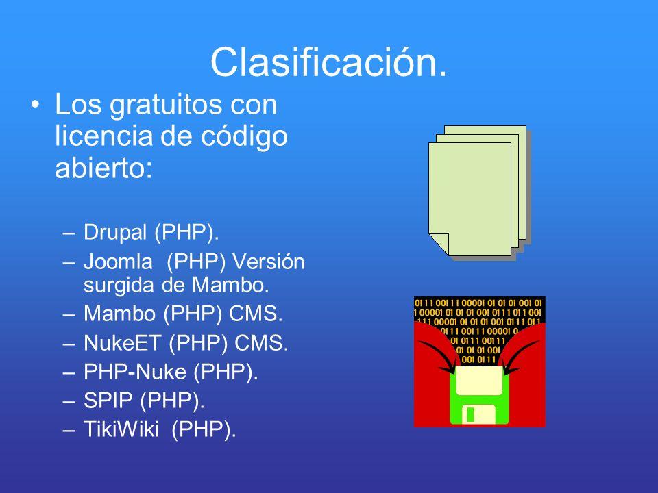 Clasificación. Los gratuitos con licencia de código abierto: –Drupal (PHP). –Joomla (PHP) Versión surgida de Mambo. –Mambo (PHP) CMS. –NukeET (PHP) CM