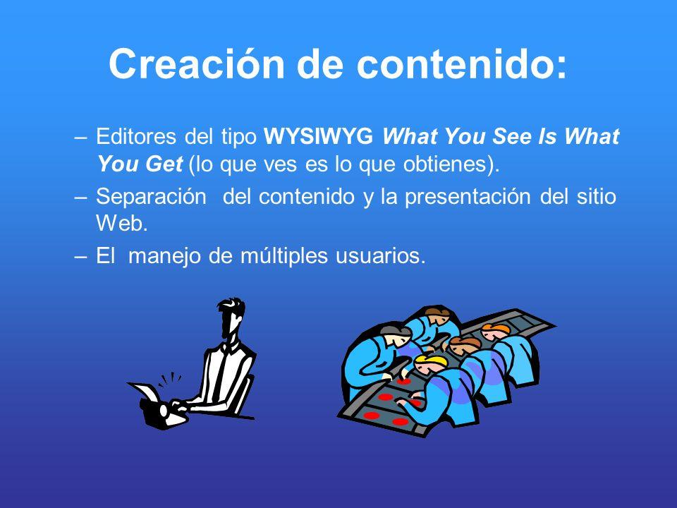 Creación de contenido: –Editores del tipo WYSIWYG What You See Is What You Get (lo que ves es lo que obtienes). –Separación del contenido y la present