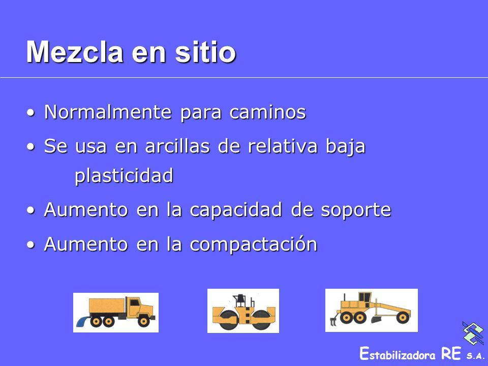 E stabilizadora RE S.A. Mezcla en sitio Normalmente para caminosNormalmente para caminos Se usa en arcillas de relativa baja plasticidadSe usa en arci