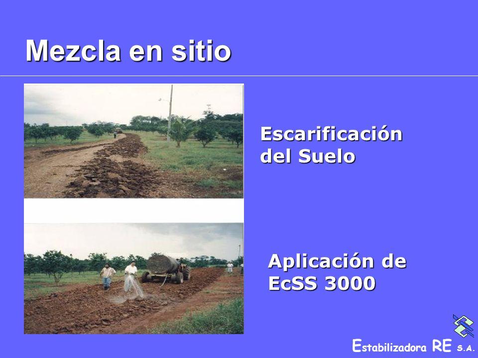 E stabilizadora RE S.A. Mezcla en sitio Escarificación del Suelo Aplicación de EcSS 3000