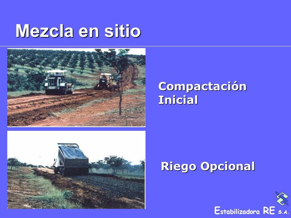 E stabilizadora RE S.A. Mezcla en sitio Compactación Inicial Riego Opcional