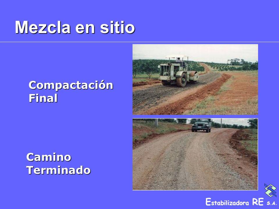 E stabilizadora RE S.A. Mezcla en sitio Camino Terminado Compactación Final