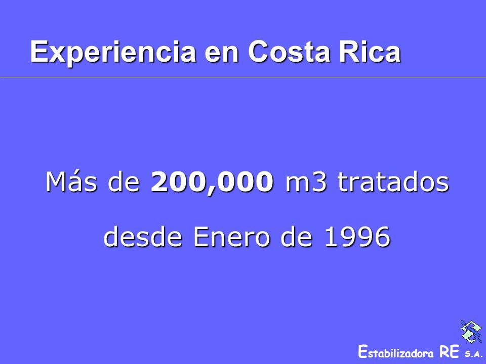E stabilizadora RE S.A. Experiencia en Costa Rica Más de 200,000 m3 tratados desde Enero de 1996