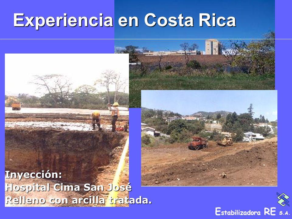 E stabilizadora RE S.A. Experiencia en Costa Rica Inyección: Hospital Cima San José Relleno con arcilla tratada.