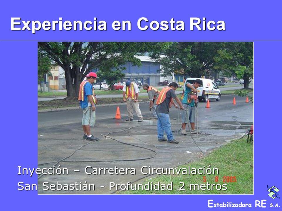 E stabilizadora RE S.A. Experiencia en Costa Rica Inyección – Carretera Circunvalación San Sebastián - Profundidad 2 metros
