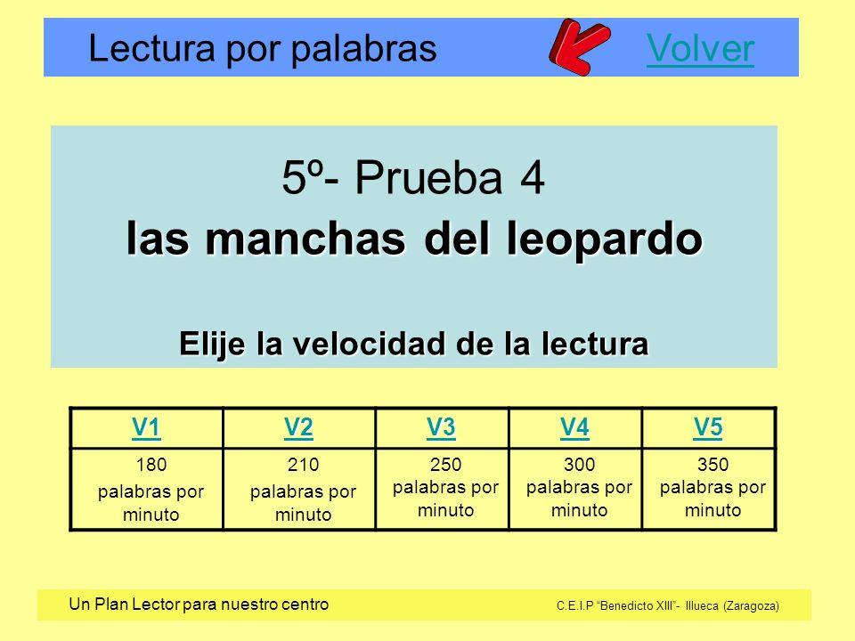 Lectura por palabras VolverVolver Un Plan Lector para nuestro centro C.E.I.P Benedicto XIII- Illueca (Zaragoza) V1 V2 V3 V4 V5 180 palabras por minuto 210 palabras por minuto 250 palabras por minuto 300 palabras por minuto 350 palabras por minuto las manchas del leopardo Elije la velocidad de la lectura 5º- Prueba 4 las manchas del leopardo Elije la velocidad de la lectura