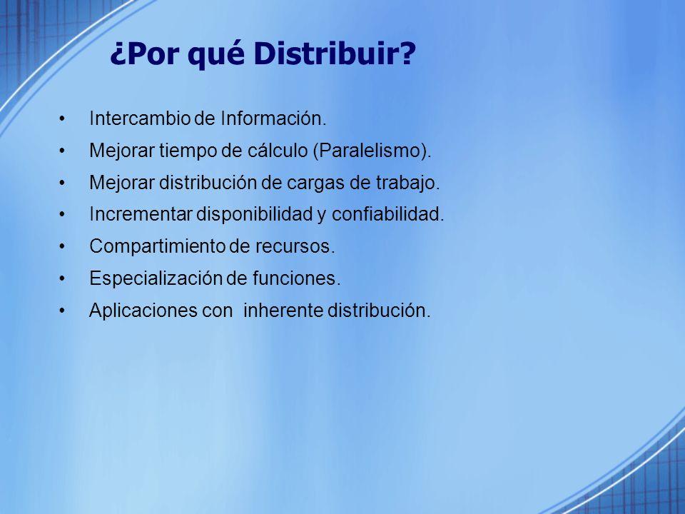 ¿Por qué Distribuir.Intercambio de Información. Mejorar tiempo de cálculo (Paralelismo).