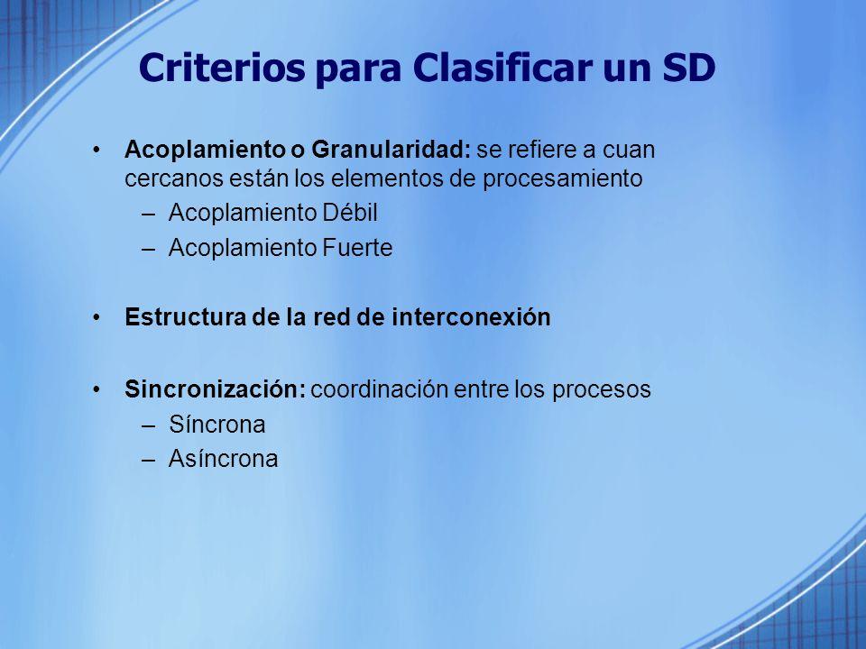 Criterios para Clasificar un SD Acoplamiento o Granularidad: se refiere a cuan cercanos están los elementos de procesamiento –Acoplamiento Débil –Acoplamiento Fuerte Estructura de la red de interconexión Sincronización: coordinación entre los procesos –Síncrona –Asíncrona
