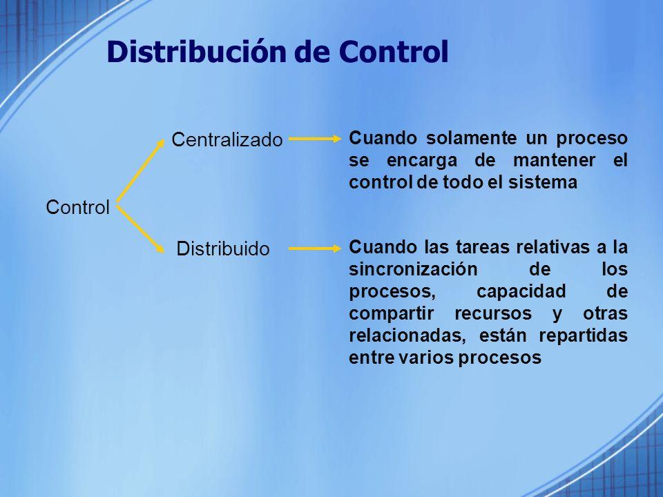 Distribución de Control Control Centralizado Distribuido Cuando solamente un proceso se encarga de mantener el control de todo el sistema Cuando las tareas relativas a la sincronización de los procesos, capacidad de compartir recursos y otras relacionadas, están repartidas entre varios procesos