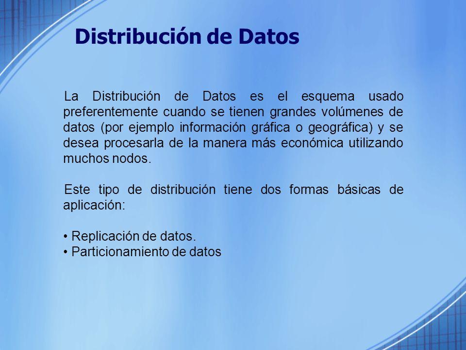 Distribución de Datos La Distribución de Datos es el esquema usado preferentemente cuando se tienen grandes volúmenes de datos (por ejemplo información gráfica o geográfica) y se desea procesarla de la manera más económica utilizando muchos nodos.