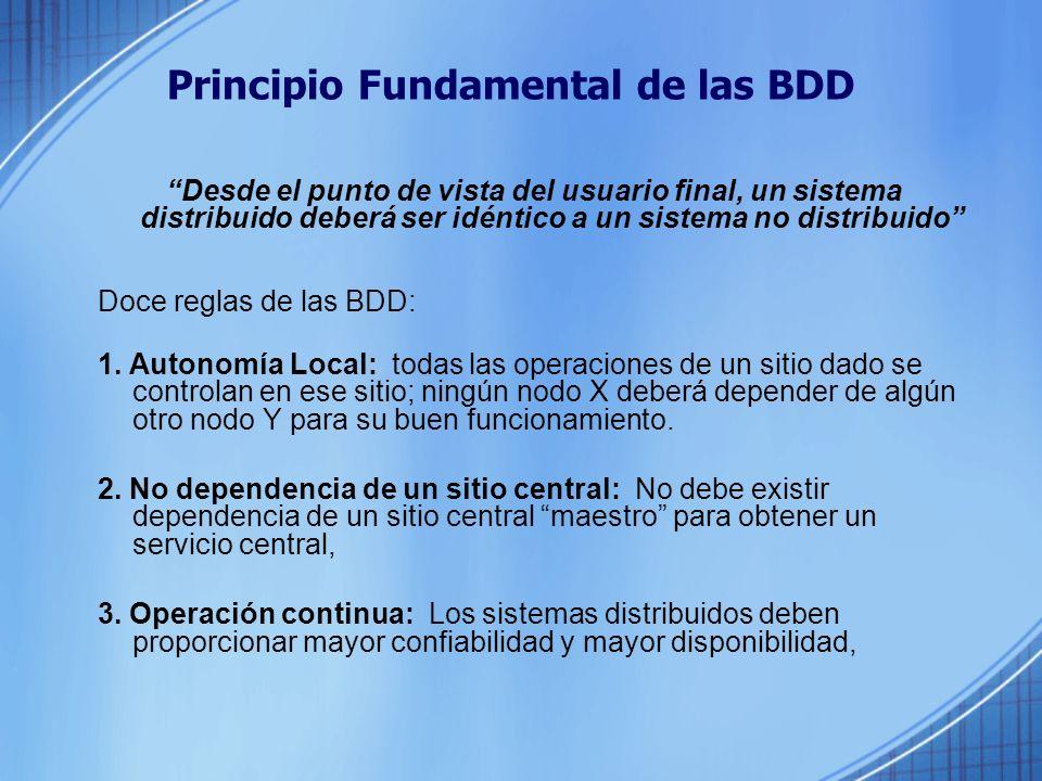 Principio Fundamental de las BDD Desde el punto de vista del usuario final, un sistema distribuido deberá ser idéntico a un sistema no distribuido Doce reglas de las BDD: 1.