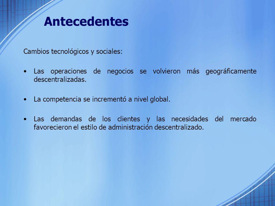 Antecedentes Cambios tecnológicos y sociales: Las operaciones de negocios se volvieron más geográficamente descentralizadas.