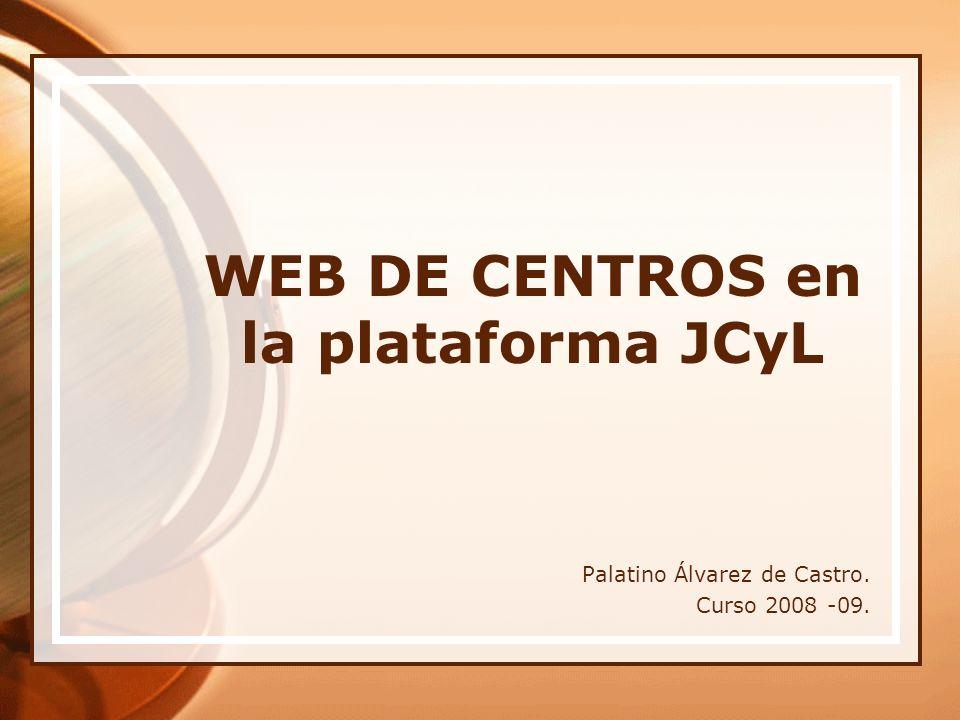 WEB DE CENTROS en la plataforma JCyL Palatino Álvarez de Castro. Curso 2008 -09.