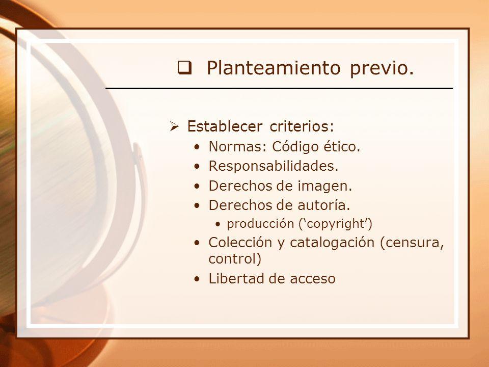 Establecer criterios: Normas: Código ético. Responsabilidades.