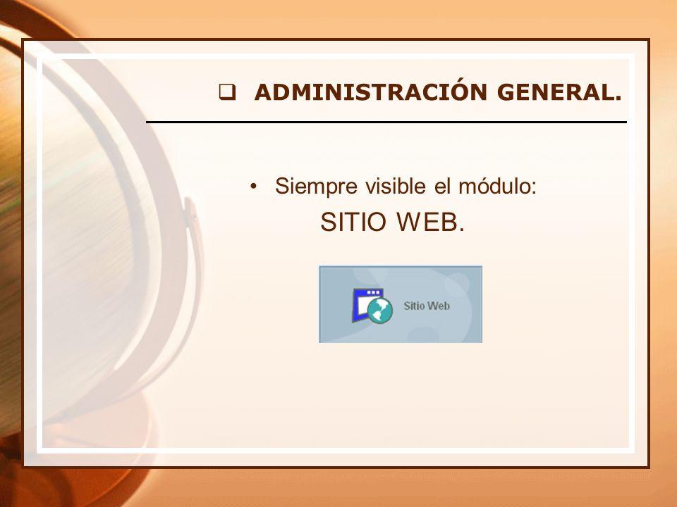 Siempre visible el módulo: SITIO WEB. ADMINISTRACIÓN GENERAL.