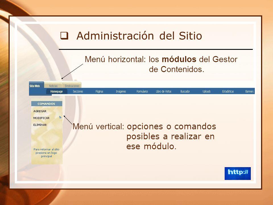 Administración del Sitio Menú horizontal: los módulos del Gestor de Contenidos.